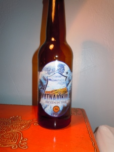 Vatnajokull beer, made from glacier water and wild thyme. Wish I could get this in the States...