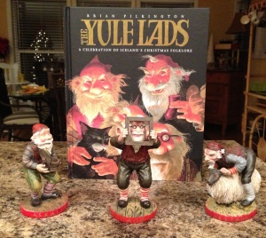 The Yule Lads and three of the 13 lads who now live in my home.