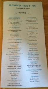 The menu from Beaver Creek's Food & Wine Grand Tasting event.