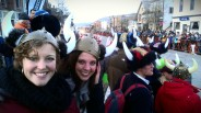 At the parade. Viking horns are required.