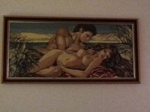 Questionable art at my hostel. Someone took the time to needlepoint this.