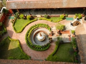 The court yard at Hotel Thamel Eco