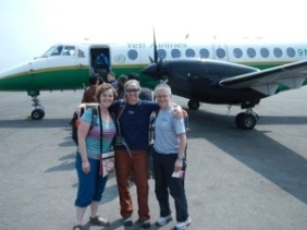 Me, Karen and Vic boarding Yeti Air to Pokhara
