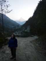 First glimpse of Machhapuchhare (Fishtail) as the sun rose.