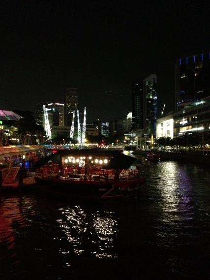 Clark Quay at night.