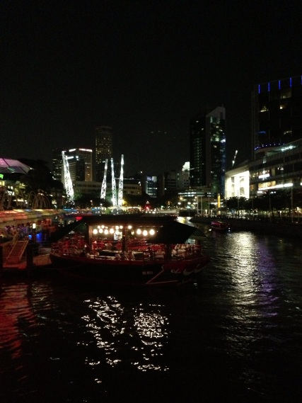 Clark Quay at night.